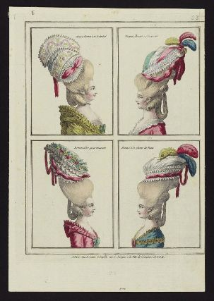 Gallerie des Modes, 1776.  One of these days I will recreate one of these hairstyles.