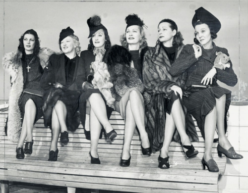 Hollywood actress doubles- 1938 Left to right: Margaret Bryson (Loretta Young), Virginia Rendel (Mae West), Sylvia Lamarr (Joan Crawford), Carol Dietrich (Marlene Dietrich), Betty Dietrich (Greta Garbo), and Ezelle Poulie (Zasu Pitts)