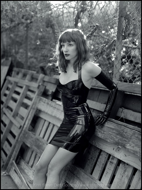 "Steve Diet Goedde photographs Kat in a Syren latex halter dress stevedietgoedde:  ""Kat, Los Angeles 2011"" - Photographed in March 2011, Kat wears a dress  by Syren Latex. Shot on Tmax 400 120 film with a Mamiya 645. Natural  light. www.stevedietgoedde.com 