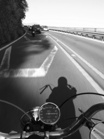 Triumph, left lane riding. It makes so much more sense, than what we do here in the US.