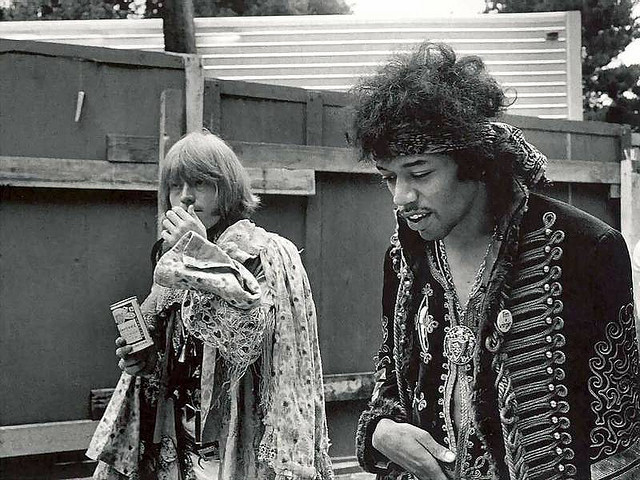 Jimi  Hendrix of the Experience and Brian Jones of the Rolling Stones at the  Monterey Pop Festival in June of 1967.