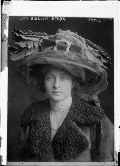 earwigbiscuits:  Furs and feathers and lace, oh my! (Lucy Bigelow Dodge and a rather ostentatious hat) via