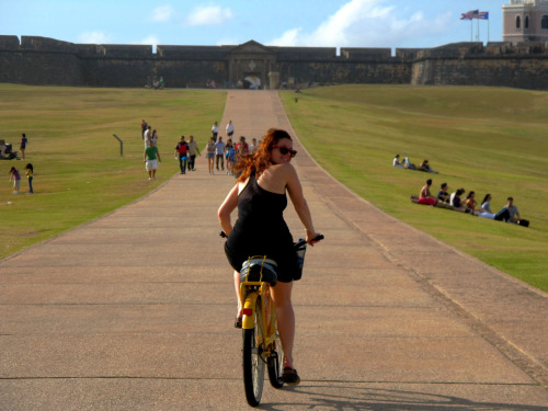 My most excellent sister riding up to Fort Castillo San Felipe del Morro. San Juan, Puerto Rico.