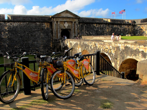 Our bikes parked at the entrance of the marvelous Fort Castillo San Felipe del Morro. Old San Juan, Puerto Rico.