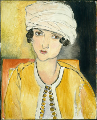 "Henri Matisse, Lorette with Turban and Yellow Jacket, 1917, National Gallery My grandmother doesn't wear yellow, but she wears head wraps and has, still, dark curly hair and exotic features, like the Italian model in Matisse's Lorette with Turban and Yellow Jacket. I bought my grandma a postcard of it several years ago during a visit to the National Art Gallery in Washington, D.C. She still has it up on her refrigerator.Lorette's jacket, aside from the color, also looks like something my grandmother would wear — the kind of soft, unstructured jacket that she pairs with one of her many calf-length skirts. Of course, my grandmother (who is not Italian, but Catalan) likes head scarfs and easy jackets for their no-nonsense practicality. I imagine Lorette liked them for a different reason: their exoticism. This was, after all, 1917, six years after Paul Poiret hosted his legendary ""Thousand and Second Nights"" party and put all of bohemian Paris in luxuriously comfy — and, for much of the bourgeoisie, shockingly indecent — harem pants (the fashion cycle moved much more slowly then). Indeed Western intellectuals and bohemians have long used Eastern dress as a way to convey their worldliness and glamour — see  Gertrude Vanderbilt Whitney's silk pajamas from 1916 or Greta Garbo's and Gloria Swanson's turbans from the 1930s. Turbans have made several comebacks in recent years: First in a 2007 runway show by Miuccia Prada (fashion's reigning intellectual) and then again in 2010 in the shows of Jason Wu, Vena Cava and Armani."