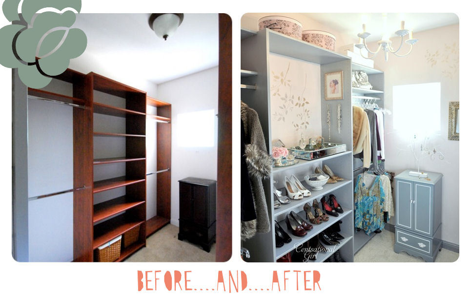 Wardrobe Before & After | Centsational Girl Oooh how I love before & afters. Especially pretty ones like this! I don't usually go for blue, but this shade makes the room feel light & airy but still sophisticated. There isn't anything here I don't like, except for the wood in the before picture! Haha! And her little area for her perfumes & clutches, so pretty. I think I'm getting wardrobe envy!