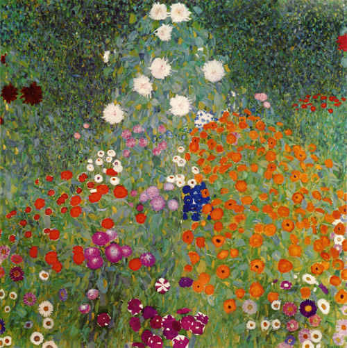 Gustav Klimt, Flower Garden, 1906 - 1908, oil on canvas, 110 x 110 cm, The National Gallery, Prague. Thank you, dreaminginthedeepsouth, parkstepp & worldpaintings: