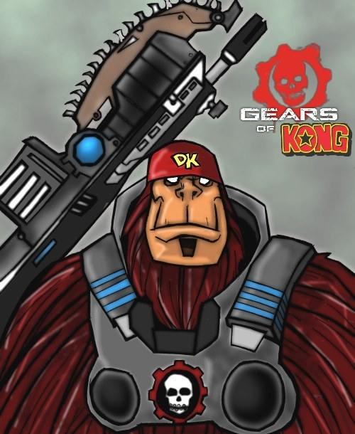 Donkey Kong takes on the role of Marcus Fenix in this DK / Gears of War Mash-Up