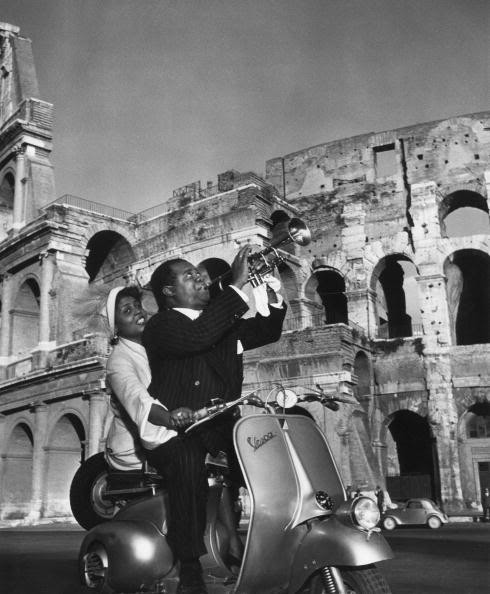 displacedsoutherner:  Vespa + Louis Armstrong + Rome = Get out! Too amazing.