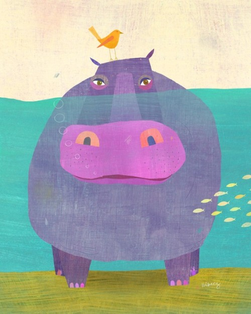 Underwater Hippo Print by twoems on Etsy