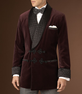 "Paul Stuart's smoking jacket equipped with ""frog"" closures"