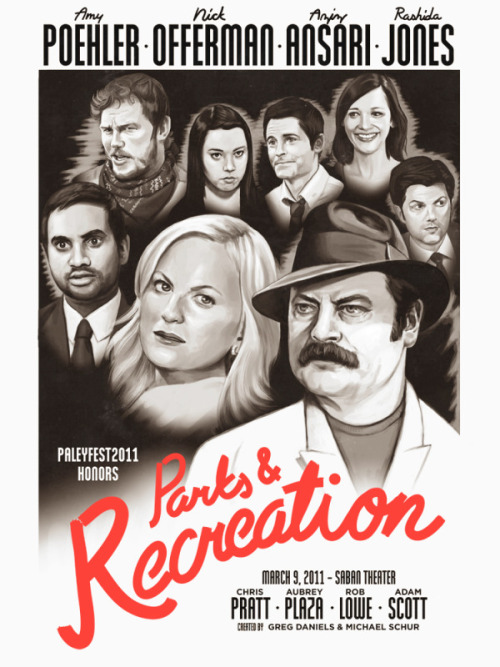 Here is my Parks And Recreation poster in the vein of Casablanca. It will be available tomorrow night at Paleyfest and any leftover prints will be sold at http://gallery1988.com on Thursday.  I'm really happy with how this came out!