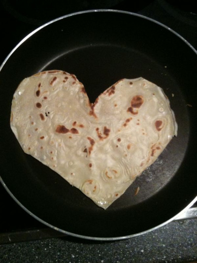 Just made Arron this heart-shaped pancake :) I hope everyone is enjoying yummy pancakes! I know I am!