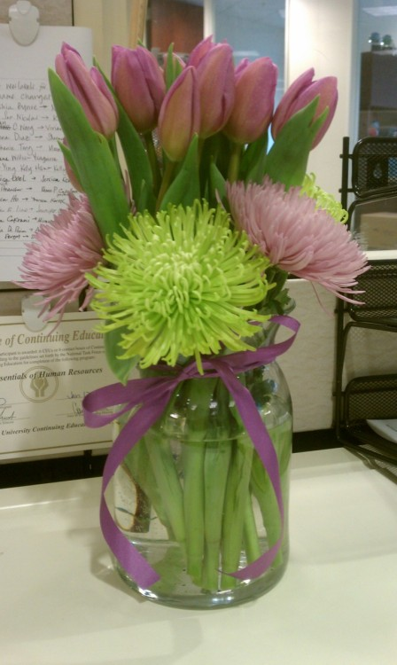 Much needed flowers on my desk today from a sweet co-worker… hoping for good news today about my grandmother.