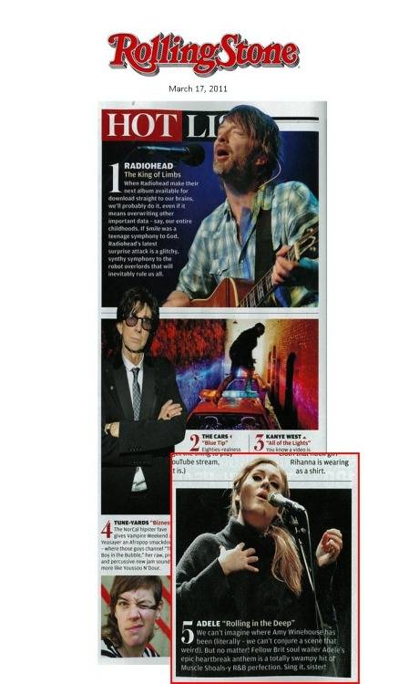 "Check out Adele featured in Rolling Stone's ""Hot List"""
