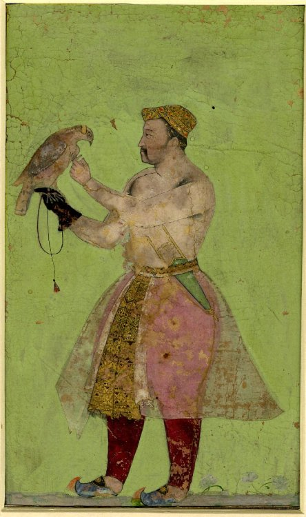 artspotting:  Painting. Jahangir with a hawk with inscriptions. On paper.  India, 1605-1627  via theplumtree:heracliteanfire: