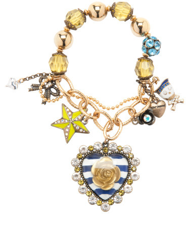 What: Betsey Johnson blue hearts charm stretch bracelet Where: BetseyJohnson.com