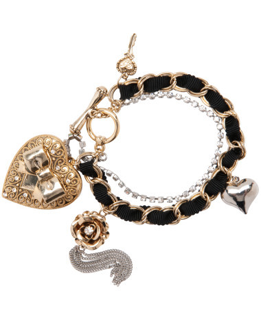What Betsey Johnson icon gold heart locket toggle bracelet Where: BetseyJohnson.com
