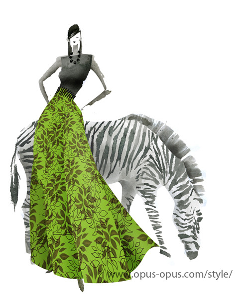 "Today's work is ""Zebra Green Dress""! I don't know the reason but I've been  fascinated African tasted something for many years. I've never been to  Africa, but I'm so excited to listen African music and beat.(read on..) http://www.opus-opus.com/style/"