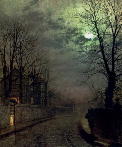 bishopsbox:  John Atkinson Grimshaw: A Lane in Headingley, Leeds (1881) John Atkinson Grimshaw: Un camino en Headingley, Leeds (1881) from/de: firsttimeuser.tumblr.com
