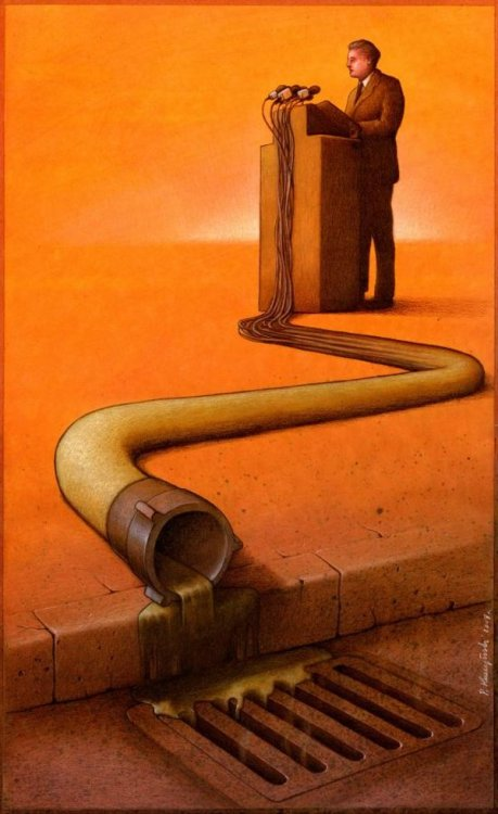 Satirical Drawings by Pawel Kuczynski.  This one might as well be ol' Scott Walker…not to assign my beliefs to it or anything ;)