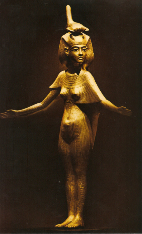moonsiren:  This statue of the goddess Selket was found inside the tomb of King Tutankhamun guarding a chamber containing the king's internal organs. Selket was believed to be so powerful that her magic could cure the scorpion's poisonous sting, which is why she is traditionally depicted wearing a headdress adorned with a representation of a scorpion. From National Geographic, March 1977