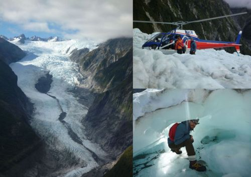 Franz Josef Glacier - Helihiking (Deutsche Version weiter unten) hey all, today I was Helihiking the amazing Franz Josef Glacier. That was definitely one of the best Experiences on my trip till now. In the early morning, we entered a Helicopter and had a scenic flight across the Franz Josef Glacier. After Landing on the Glacier, we put on our Ice-Shoes and did a beautiful hike through the amazing glacier. We squeezed ourselfes through tiny ice-cages, climbed bizarre icy formations and learned lot about the glacier. A fantastic trip with amazing views - and again we had bright sky and sunshine (the weather's god is with me at the moment ;) Tomorrow we'll had over to Whanaka on our way to Queenstown. All the Best, Jan Hallo zusammen, auf besonderen Wunsch sollte ich die Posts auch wieder auf Deutsch verfassen - dem tue ich hiermit genüge. Heute haben wir Helihiking auf dem Franz Josef Gletscher gemacht. Zunächst ging es im Helikopter auf einen Rundflug über den Gletscher und seine bizarren Eisformationen. Im Anschluss sind wir auf dem Gletscher gelandet und haben dort unsere Eisschuhe übergezogen. Danach sind wir 2 Stunden durch den Gletscher gewandert - durch Eishöhlen, bizarre Eisformationen und über schmelzendes Eis. Alles in allem einer der besten Trips, die ich bisher hier gemacht habe. Morgen geht es weiter in nach Wanaka - auf dem Weg nach Queenstown.
