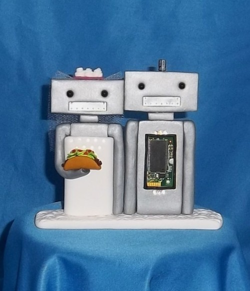 Custom Robots Cake Topper by buttoneyedteddybear on Etsy