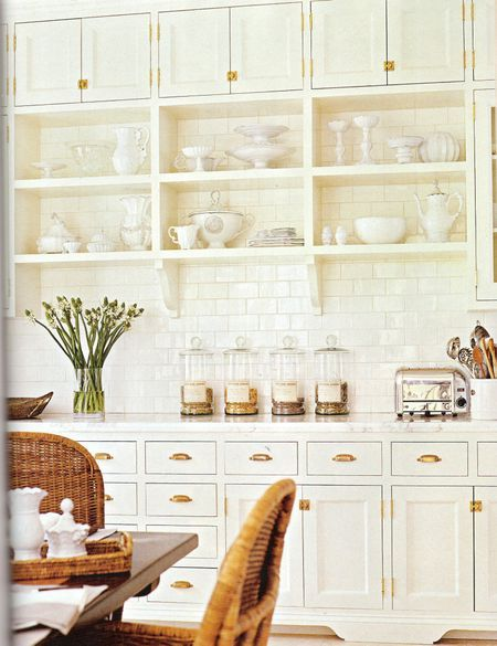 two of my faves…. subway tile and open shelving.