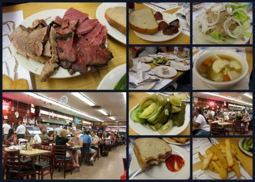 "Katz's Delicatessen is a rooted establishment located in the Lower East Side of Manhattan since 1888.  The deli is famous for their smoked meats (pastrami and corned beef sandwiches) and hot dogs. They are also famous for a particular scene in the romantic comedy When Harry Met Sally. You are handed an orange ticket when you walk in.  Don't lose this ticket as this is how your tab is tallied.  If you lose the ticket, you'll be charged $50 for a ""lost ticket fee"". Hand in your blank ticket even if you don't eat.  Tables along the walls are for waiter service; though it is much more fun to stand on line behind one of the counters and watch your carver build your sandwich.  They will usually give you a small sample of the meat.  Also be sure to tip your carver! He might give you a few extra pieces.  Other favorites are liver and onions and a hot bowl of matzo ball soup. Want breakfast at midnight?  Try their tongue sandwich with fried egg.  Open until 2:45AM on weekends, we found that it's a great place to stop by after a night of bar hopping in the LES. Katz's Delicatessen, 205 East Houston Street, New York (Lower East Side)"