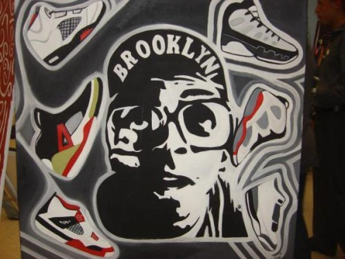 "my painting I did of spike lee & all the shoes they mixed to make the spizikes I painted the spizikes like the ""King county"" I have oh & by the way I painted this 2 years ago"