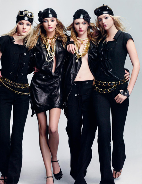 Jessica Stam, Snejana Onopka, Sasha Pivovarova & Gemma Ward for Vogue Paris