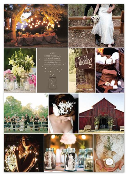 Perfect! Barn, mason jars, fireflies, lights, burlap. Love it.