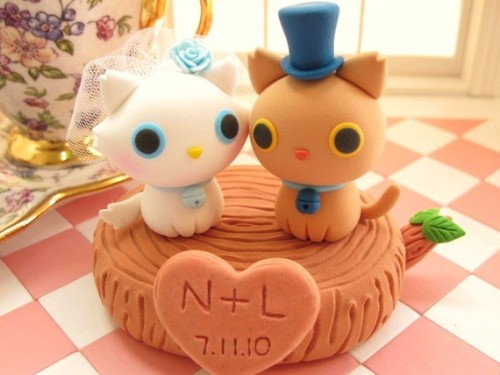 LOVE ANGELS Wedding Cake Topperlove kittylove cat with by kikuike