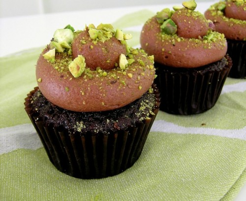 Quadruple Chocolate Pistachio cupcakes! Yum. Get the recipe and more at Sweetest Kitchen.