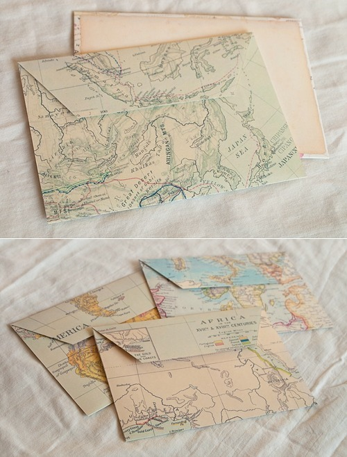 Handcrafted cartographic Envelopes on Etsy Check out these handmade envelopes! You can even purchase them!