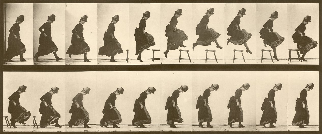 Jumping a Chair Animal Locomotion, Plate 156. Eadweard Muybridge, 1887  Another favorite Animal Locomotion plate. I've always loved how dynamic this image is, especially when seen in this format, with all the frames placed in sequence. While sometimes seeing these plates animated makes it easier to see the motion of the sequence - I like the visual rhythm created when seeing them this way.