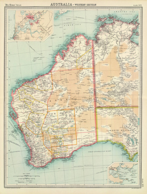 cartographymaps:  John George Bartholomew, 1922, Western Australia  when/where are we moving my dearest lover?