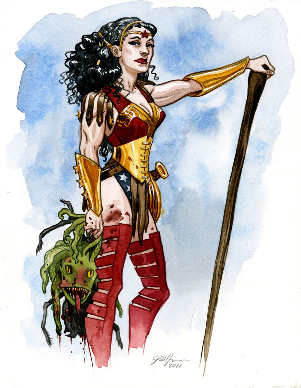 Jill Thompson's Wonder Woman. I'd lose the blue there, maybe a little less cleavage, shorten the bracers, but I think I like this. Especially adore her hair. I love any artist who does something with her hair.