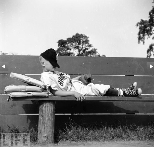 digmuseum:  oldtimefamilybaseball: From the excellent Life photo series.   I was once tossed from a game for throwing a chalk-covered potato into centerfield.  True story.  I covered a spud in baseline chalk before a game and waited until just the right moment.  With a runner on third I moved to throw the ball back to the pitcher.  I reached inside my vest, grabbed the spud and chucked it into center.  The runner did the smart thing and come trotting home.  I tagged him with the real ball while my centerfielder ate the evidence.  I was tossed for bringing a foreign object onto the field.  My argument was the spud was raised in Idaho so I couldn't have been foreign.  The ump wasn't buying it.