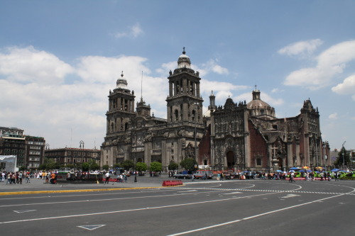 "Daily Photo  Metropolitan Cathedral Mexico City  The largest and oldest Cathedral located in America. From left to right (the first building that you can see) is located the restaurant ""Balcón del Zócalo"" where I was eating with my friend Ruth."