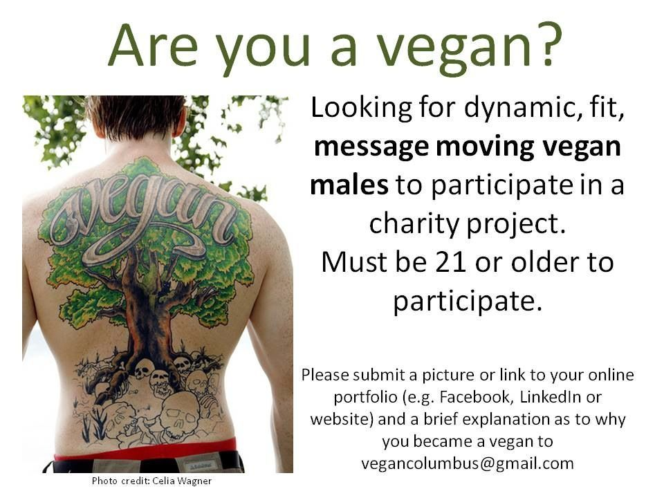 Are you a vegan? I'm looking for dynamic, fit, message moving vegan males to participate in a charity project. Must be 21 or older to participate. Please submit a picture or link to your online portfolio (e.g. Facebook, LinkedIn or website) and a brief explanation as to why you became vegan to vegancolumbus@gmail.com.  Please repost and share, friends! Thanks a lot. :) Love, Miss Natalie Lynn