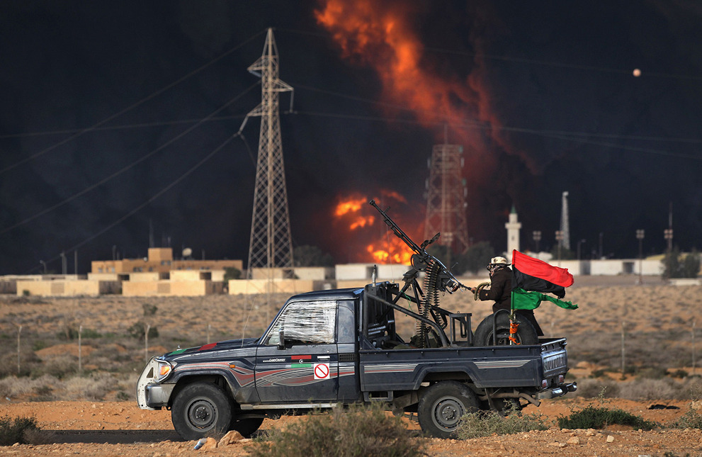 Hilux in a hotspot  retrowar:  Libyan rebels