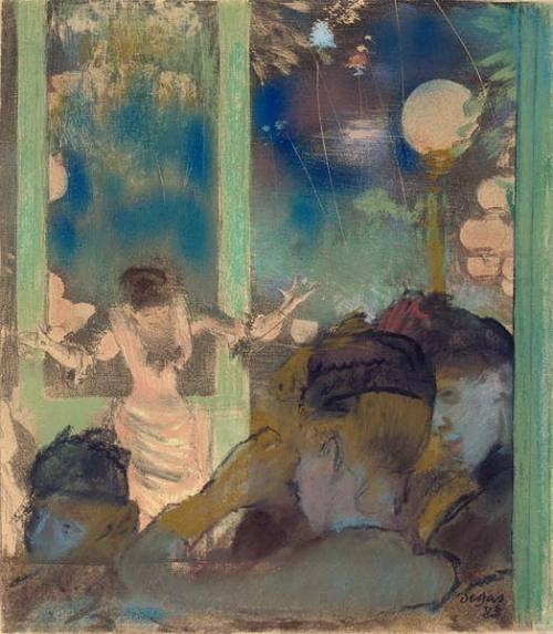 Edgar Degas (1834–1917)Mademoiselle Bécat at the Café des Ambassadeurs, 1877/85Pastel over lithographSigned and dated at lower right, in pastel, Degas / 85.9 1/16 x 7 7/8 inches (230 x 200 mm)Thaw Collection, The Morgan Library & Museum; 1997.88 This vivid scene of a performance by the famed chanteuse Emilie Bécat at the Café des Ambassadeurs captures the spectacle and excitement of the outdoor café-concert in fin-de-siècle Paris. Degas was a frequent visitor to this popular and coarse form of entertainment for a brief period during the late 1870s and used it as inspiration for compositions, such as this 1877 lithograph that he reworked in pastel nearly a decade later. The three silhouetted female spectators in the immediate foreground—added entirely in pastel to the underlying print—contrast with the spotlighted singer, who is performing her frenzied, comic dance, with arms raised and fingers splayed, in her trademark style épileptique.  Reblog