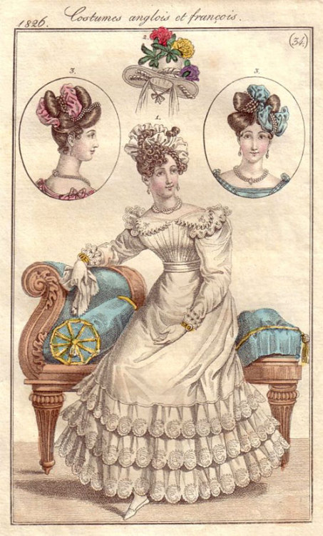 Journal des Dames et des Modes, 1826. The clothes are great and all, but I really like that sofa!