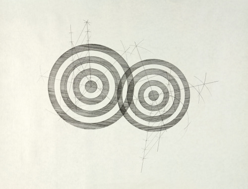 "I'm considering revisiting the targets iconography in drawing form again while reading up on the perspective use of ""targets"" from an art history point of view - (Jasper Johns for example)…   especially as the 4th of July looms ahead.  The targets are to me - first,  the result of some relatively simple geometric constructions, originating from an arbitrary position of three points but when combined in a certain way take on other meanings - depending on your point of view. mattniebuhrdrawings:    untitled (line studies - #1 - two target construction)2011_01graphite on paper18"" x 23 3/8"" (45.7 x 59.4)cmMatt Niebuhr (a geometry construction using a compass and straightedge - two circles, constructed from three points each located at random on the page - then divided equally to form additional circles, rendered in poche to represent disks. A circle is a line forming a closed loop, every point on which is a fixed distance from a center point. A disk is a round portion of a plane which has a circular outline) See this and other original works available for purchase here - Thanks!"
