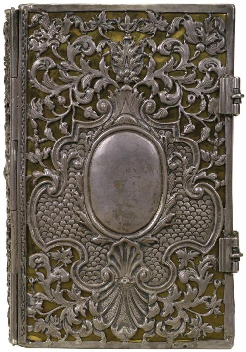 oddresonance:  Silver on black leather (anon.) 'New Testament' 1710