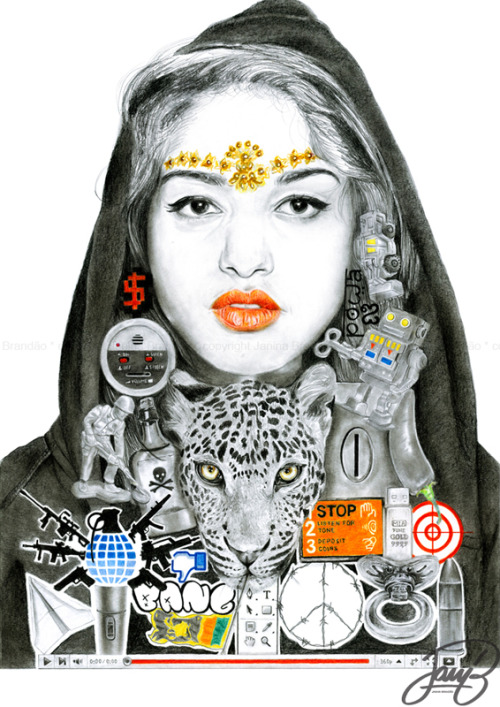 This is my M.I.A illustrationIt took some time but it's finally completed!Tell me what you think! What are your interpretations?A3 - paper, color pencils and pencils