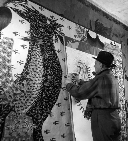 Jean Lurçat aux Tours Saint Laurent, 1945 -by Robert Doisneau via robert-doisneau