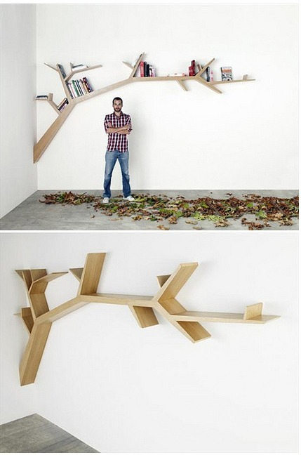 phoenixsees:  Branch bookshelf by French designer Olivier Dollé - made from oak veneer on a hollow plywood structure.  This is one of those designs that makes my heart happy. I think it is totally DIYable especially if you are a math whiz.